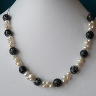 Black Agate & Freshwater Pearl Necklace - Genuine Gemstone
