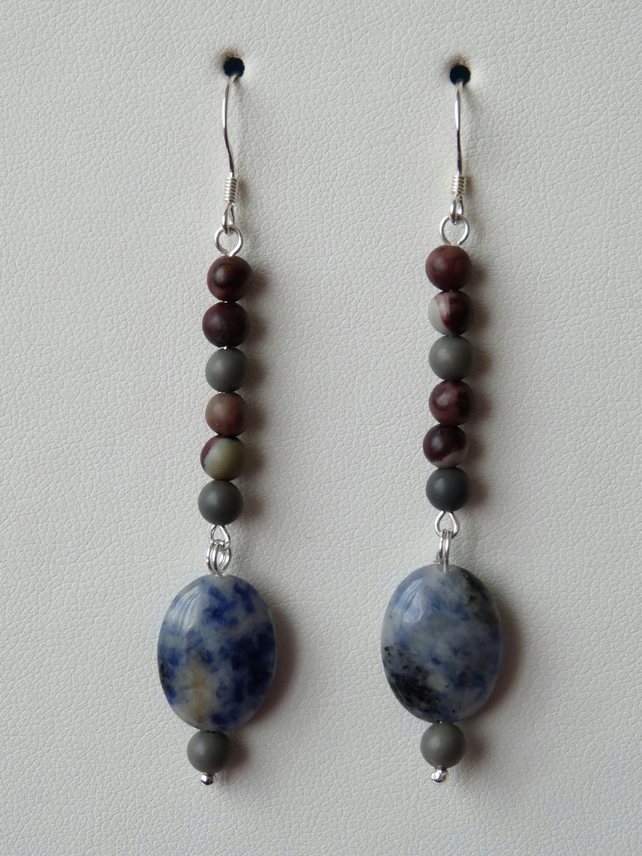 Blue Spot & Picture Jasper Earrings  - Genuine Gemstone - Sterling Silver