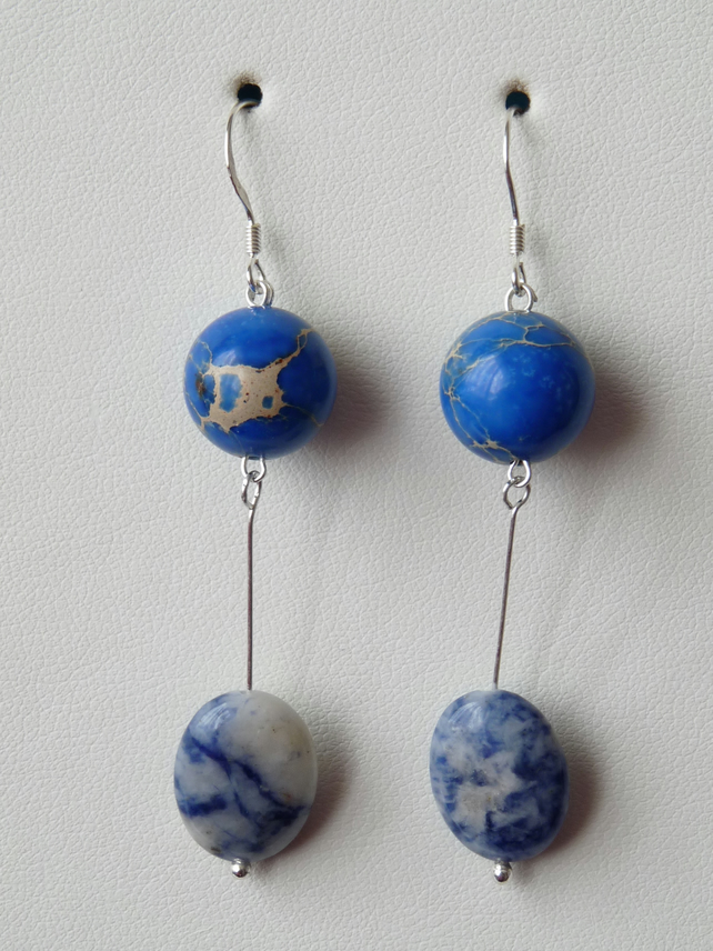 Blue Spot & Imperial Jasper Earrings  - Genuine Gemstone - Sterling Silver