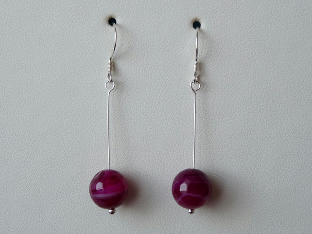 Fuchsia Pink Stripe Agate Earrings - Genuine Gemstone - Sterling silver