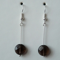 Smokey Quartz Drop Earrings - Genuine Gemstone - Handmade