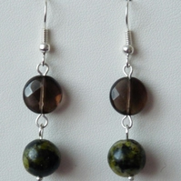 Smokey Quartz & Green Jasper Drop Earrings - Genuine Gemstone - Handmade