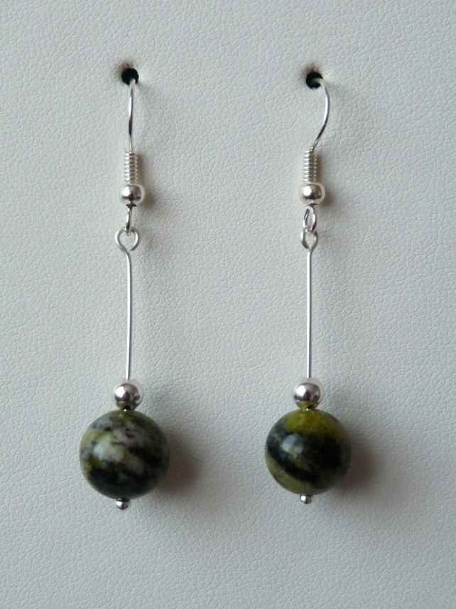 Green Jasper Long Drop Earrings - Genuine Gemstone - Handmade