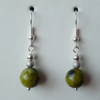 Green Jasper Drop Earrings - Genuine Gemstone - Handmade