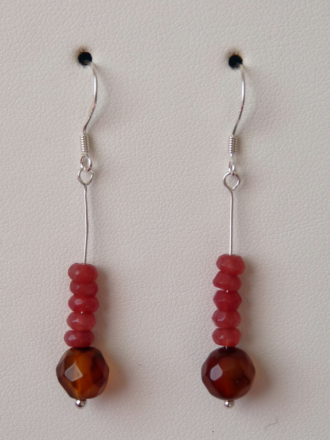 Amber Agate & Chinese Jade Earrings - Sterling Silver - Genuine Gemstone