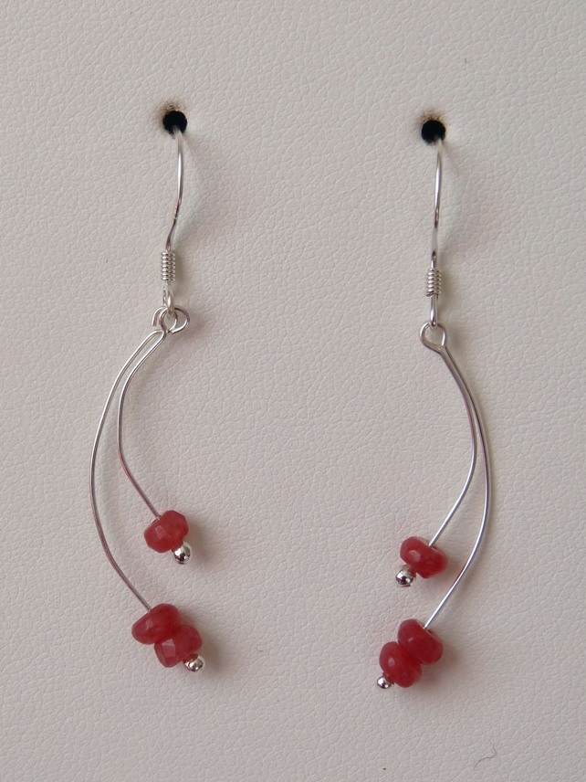 Rose Coloured Chinese Jade Earrings - Sterling Silver - Genuine Gemstone