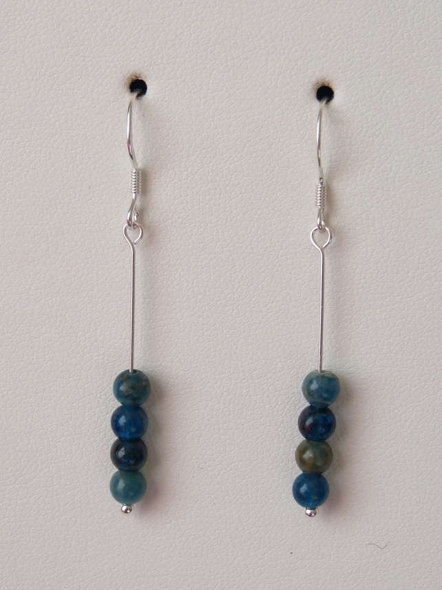 Apatite Single Drop Earrings - Sterling Silver - Genuine Gemstone - Handmade