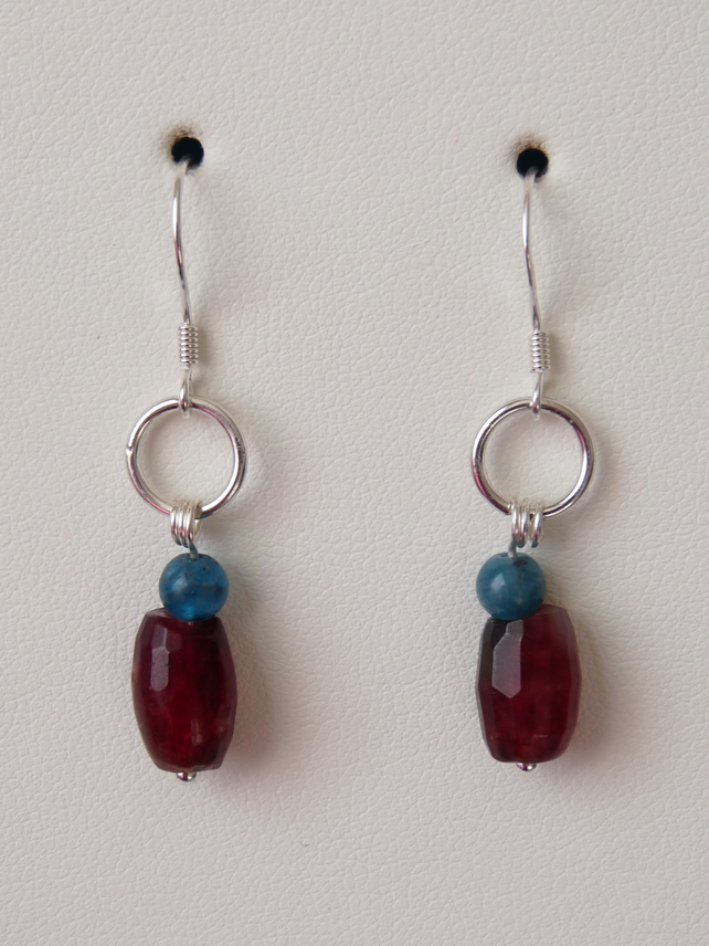 Multi Coloured Quartz & Apatite Earrings - Sterling Silver - Genuine Gemstone