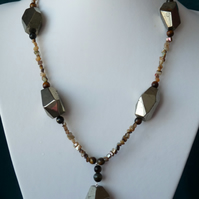 Chunky Pyrite, Tiger's Eye & Abalone Necklace - Genuine Gemstone - Handmade