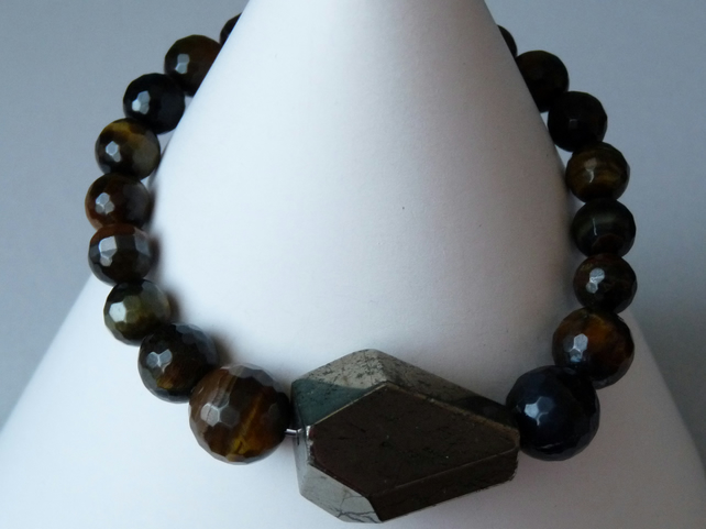 Pyrite & Tiger's Eye Bracelet - Genuine Gemstone - Handmade