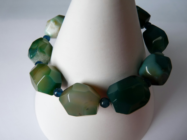 Green Agate & Apatite Bracelet - Sterling Silver