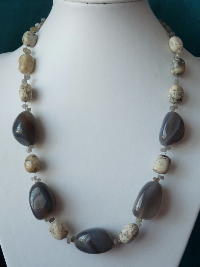 Agate, Labradorite & Natural Opal Necklace - Genuine Gemstone - Sterling Silver