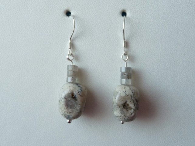 Labradorite & Natural Opal Earrings - Genuine Gemstone - Sterling Silver