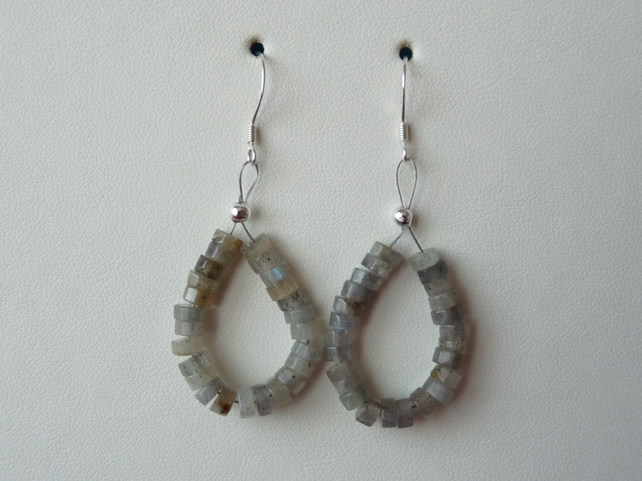 Labradorite Hoop Style Earrings - Genuine Gemstone - Sterling Silver
