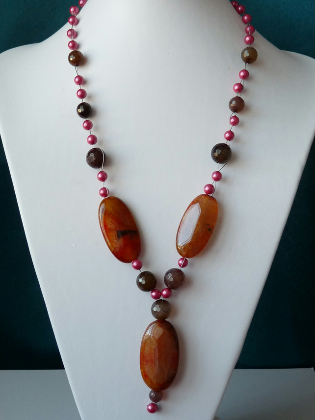 Multi Agate & Shell Pearl Necklace - Genuine Gemstone - Sterling Silver