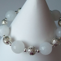 White Quartzite & Filigree Bead Bracelet  - Handmade - Genuine Gemstone