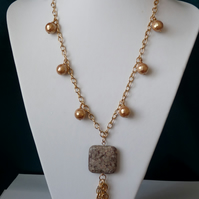 Ocean Fossil Jasper & Shell Pearl Long Necklace  - Handmade