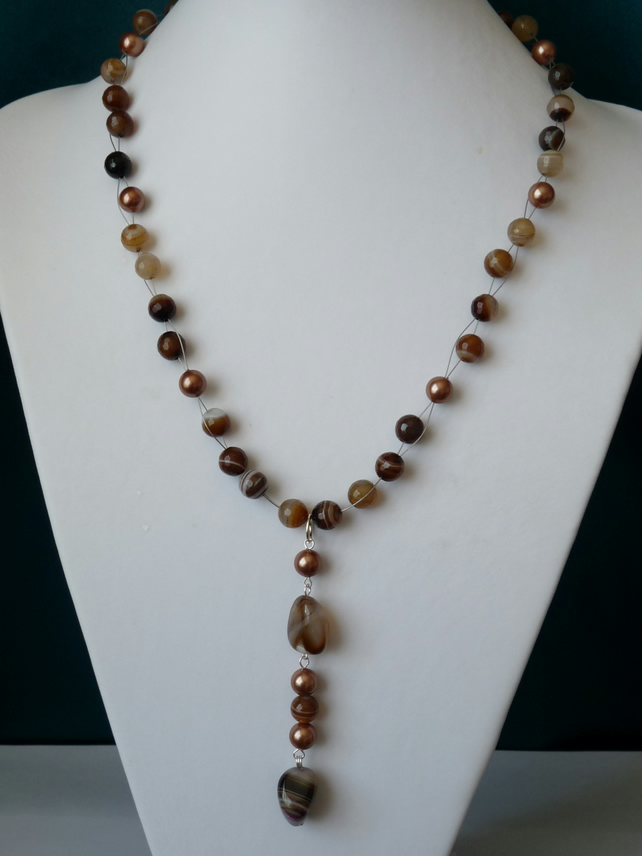 Multi Coloured Agate & Shell Pearl Necklace  - Sterling Silver - Handmade