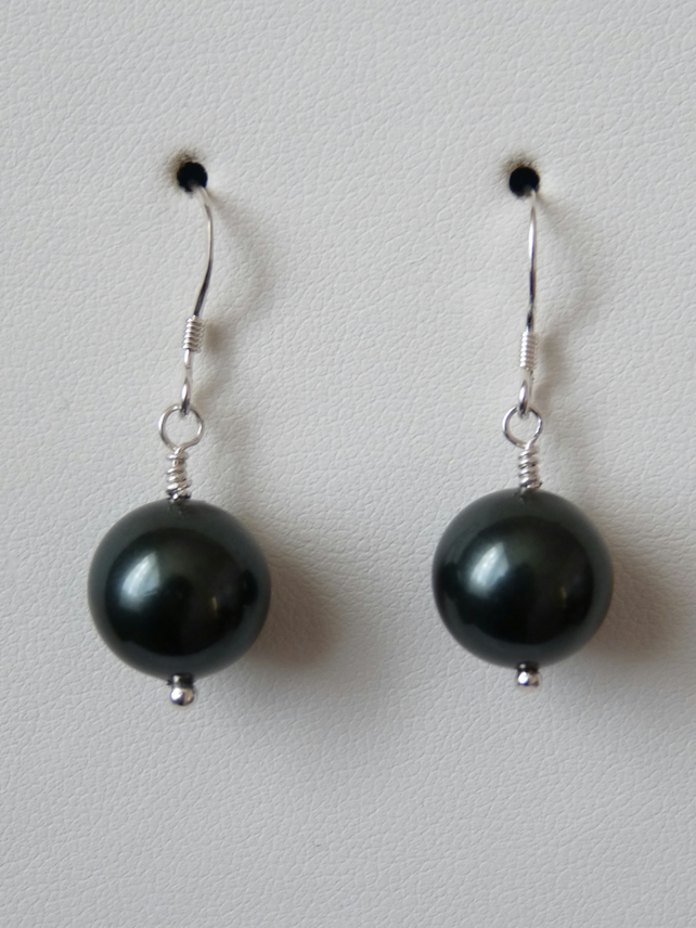 Deep Forest Green Shell Pearl Earrings - Handmade - Sterling Silver