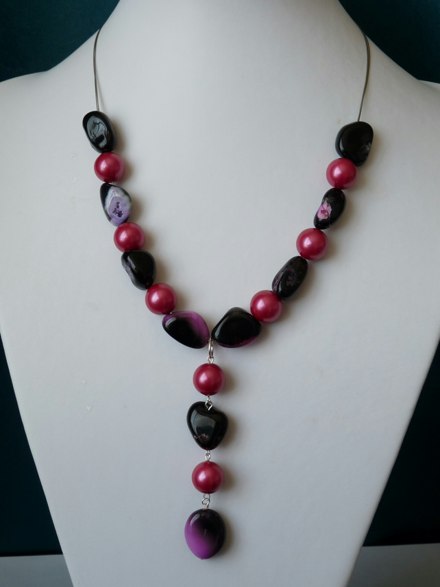 Pink Shell Pearl & Agate Necklace  - Sterling Silver - Handmade