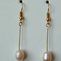 Peach Freshwater Pearl Earrings - Genuine Gemstone - Handmade