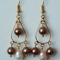 Freashwater Pearl & Shell Chandelier Earrings - Genuine Gemstone - Handmade