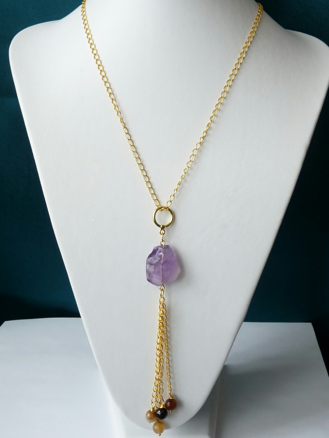 Amethyst & Agate Tassel Necklace - Genuine Gemstone - Handmade