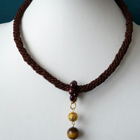 Tiger's Eye & Freshwater Pearl Braided Necklace - Genuine Gemstone - Handmade