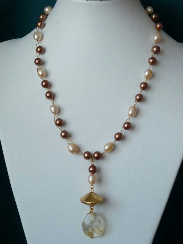 Freshwater Pearl, Shell & Citrine Necklace - Genuine Gemstone - Handmade