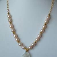 Freshwater Pearl & White Quartz Necklace - Genuine Gemstone - Handmade
