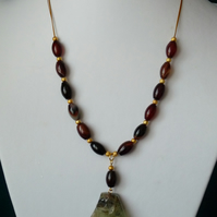 Fancy Agate & Prehnite Necklace - Genuine Gemstone - Handmade