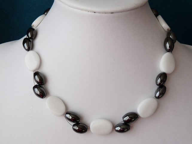 Haematite & White Jade Necklace - Sterling Silver - Handmade