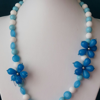 Swiss Blue Jade & Shell Necklace - Sterling Silver - Handmade