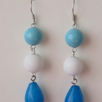 Swiss Blue Jade & Shell Pearl Earrings - Sterling Silver - Handmade