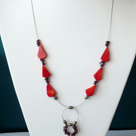 Garnet, Red Coral & Pyrite Necklace - Sterling Silver - Handmade