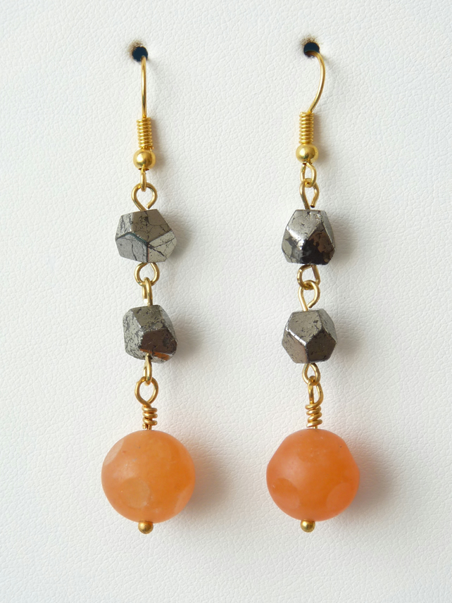 Orange Jade and Pyrite Dangle Earrings - Handmade - Genuine Gemstone