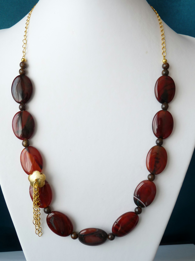 Deep Red Striped Agate and Bronzite Necklace - Handmade - Genuine Gemstone