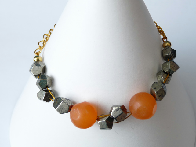 Orange Jade and Pyrite Chain Bracelet - Genuine Gemstone