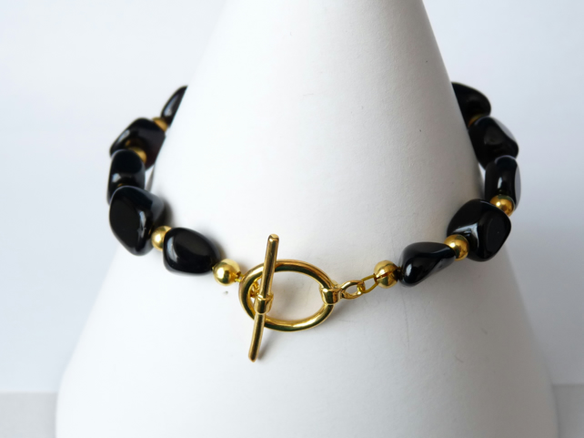 Black Onyx Bracelet - Handmade - Genuine Gemstone