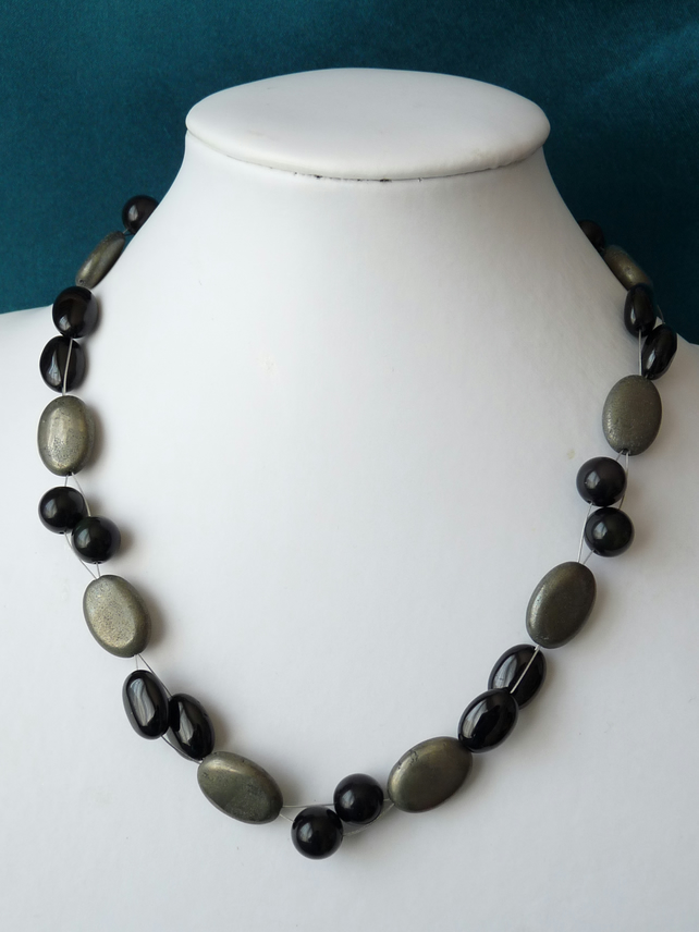 Black Obsidian, Black Tourmaline and Pyrite Necklace  - Sterling Silver