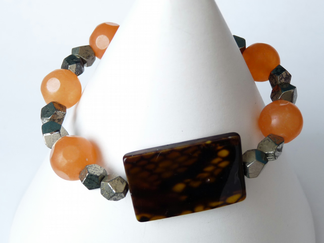 Orange Jade, Pyrite and Shell Bracelet - Handmade - Genuine Gemstone