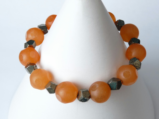 Orange Jade and Pyrite Bracelet - Handmade - Genuine Gemstone
