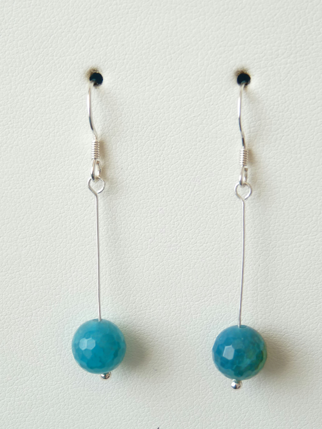 Teal Crackled Agate Earrings - Sterling Silver - Handmade