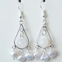 White Cultured Pearl & White Agate Chandelier Earrings - Genuine Gemstone