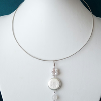 White Cultured Pearl & White Agate Memory Wire - Necklace  - Genuine Gemstone