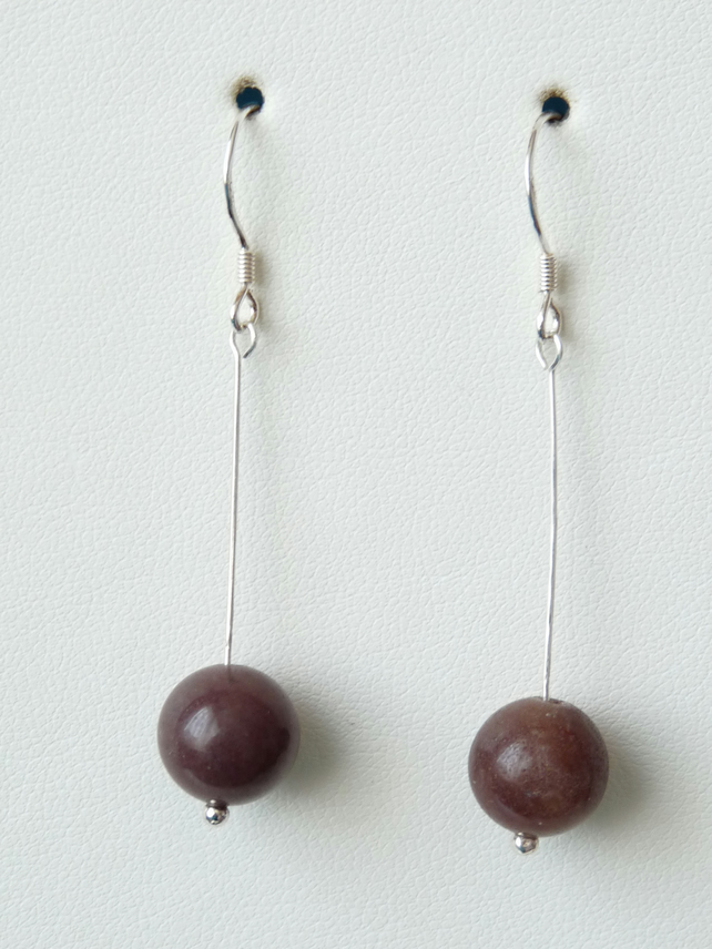 Plum Adventurine Drop Earrings - Sterling Silver