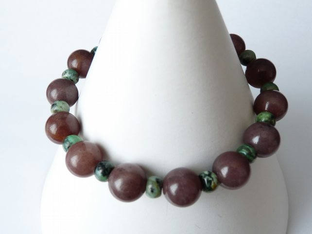 Plum Adventurine & African Turquoise Bracelet - Sterling Silver