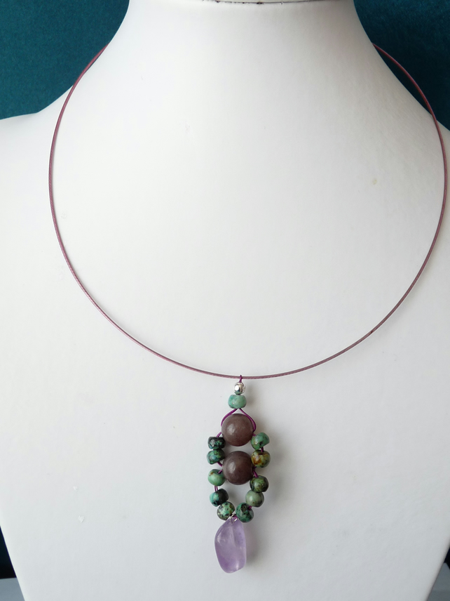 Ametrine, Adventurine & Turquoise Memory Wire Necklace - Genuine Gemstone