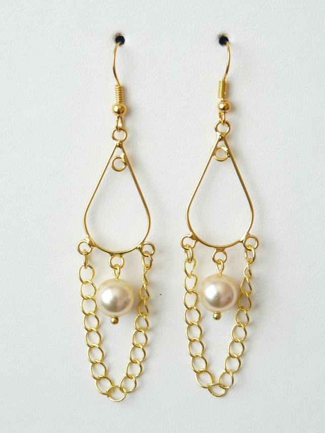 Light Gold Shell Pearl Chandelier Earrings - Genuine Gemstone - Handmade