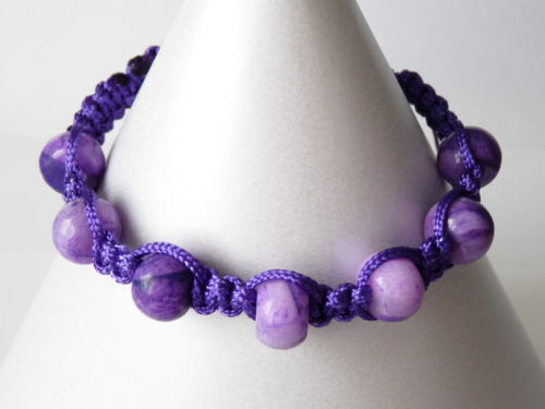 Purple Crazy Lace Agate Shamballa Style Bracelet - Handmade - Genuine Gemstone